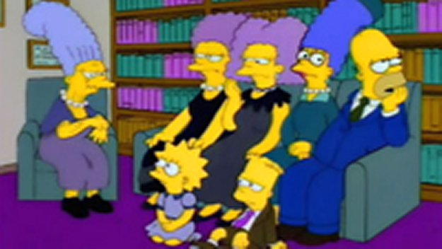 The Simpsons with Jacqueline, Patty and Selma Bouvier