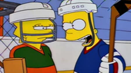 Bart and Lisa square up in hockey gear