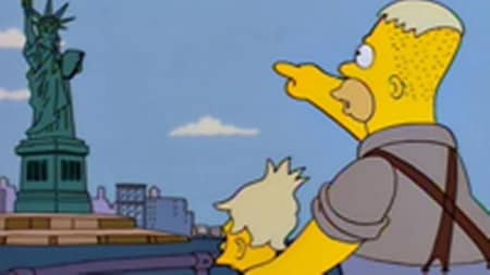 Young Abe Simpson and his father near the Statue of Liberty