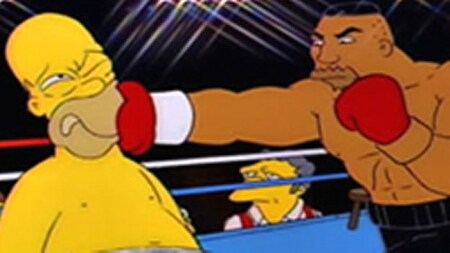 Homer getting punched by boxer Drederick Tatum